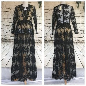 Forever 21 Black Lace Maxi Dress with bodysuit
